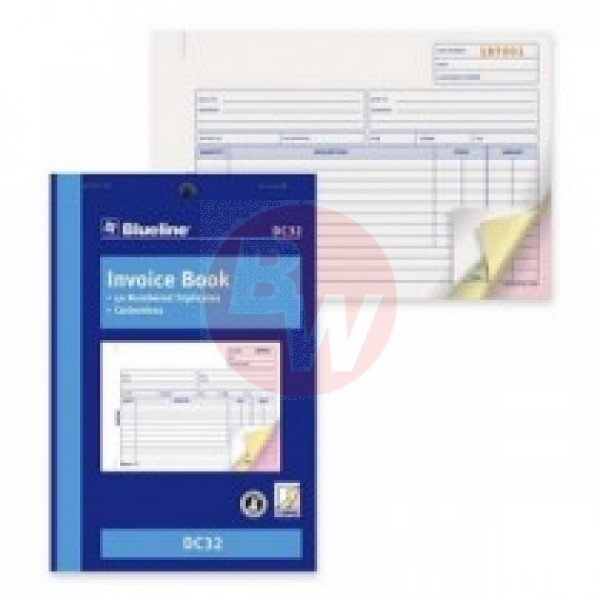 "Blueline Invoice Book - 50 Sheets - 3 Part - 5.38"" x 8"" Sheet Size - Each"