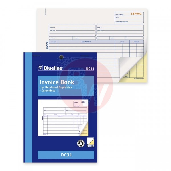Blueline - DC31 - Invoice Book - 2 Part - 50 Duplicates Carbonless - 1 Each