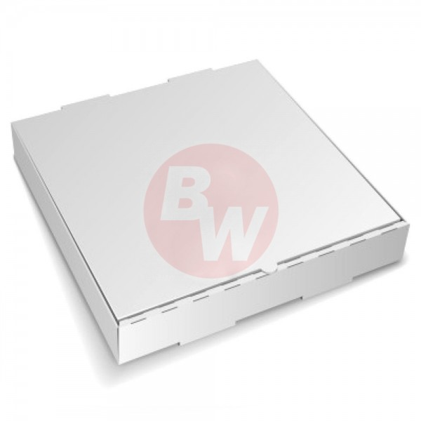 "Amber - 14"" x 14"" - Pizza Box White Shrink Wrapped 50/Case"