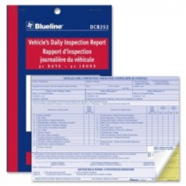 "Blueline Vehicle's Daily Inspection Report - 31 Sheets - 2 Part - 5.37"" x 8"" Sheet Size - 1 Each"