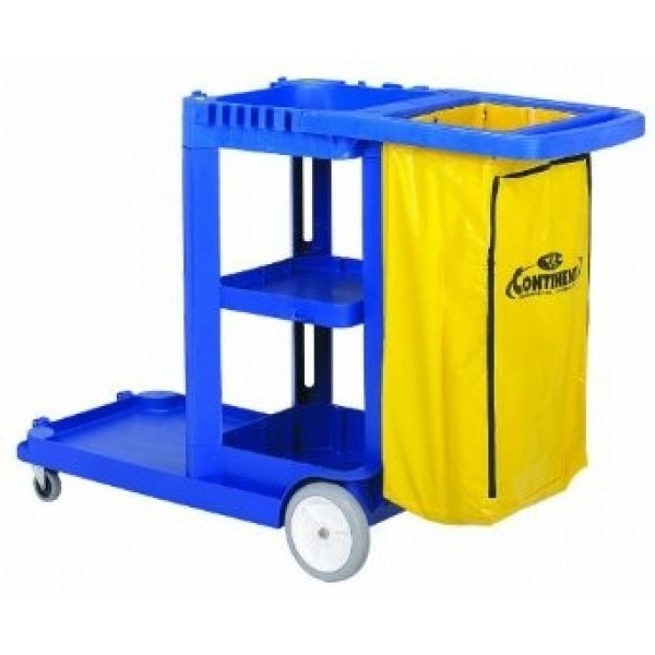 Continental - 184BL - Blue Janitor Cart With 25 Gallon Vinyl Bag 1/Case