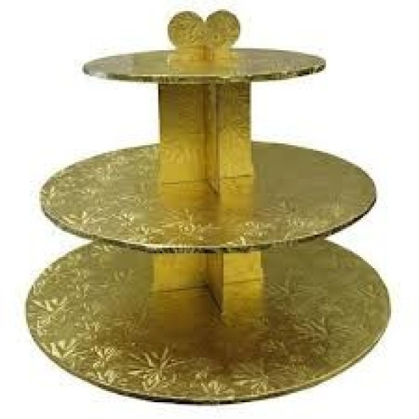 Enjay - CS-3T-GOLD - Cup Cake Stand 3 Tier Gold EACH/Pack