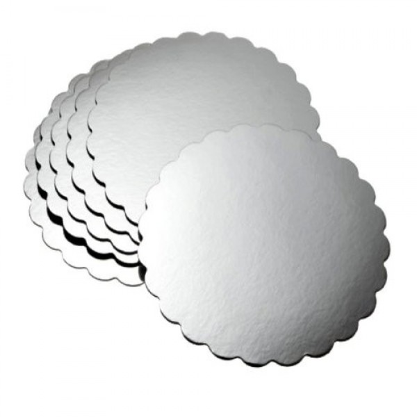 "Enjay - .045-8RSS - 8"" Round Cake Board  - 0.045"" Scallop Edge - Silver 250/Pack"