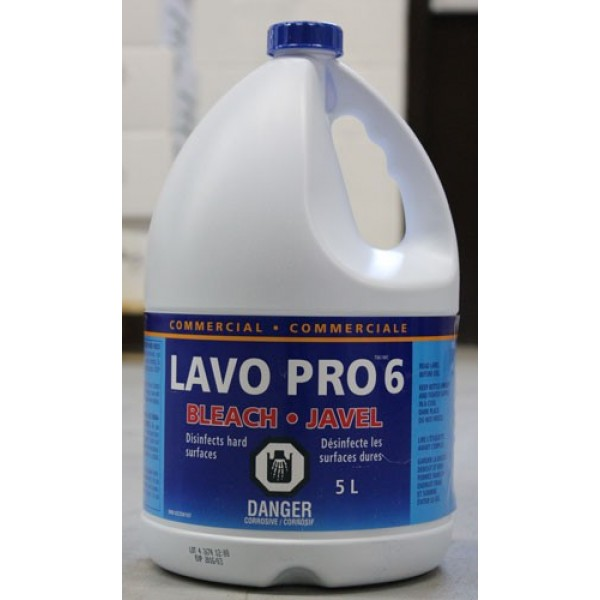 Lavo - 44034 - Commercial Bleach 6% Concentration 3X5L/Case