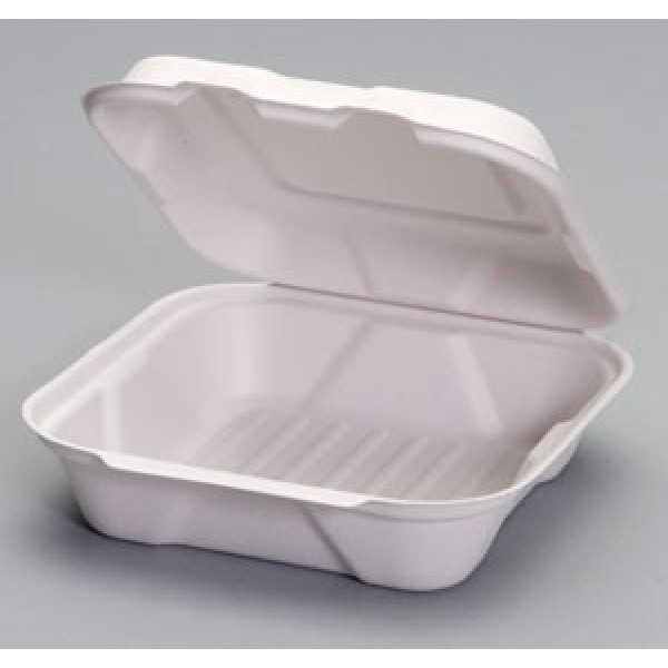 "Harvest Fiber - 8""X8""X3"" - 8"" Hinged Container 1-Comp Bagasse 200/Case"