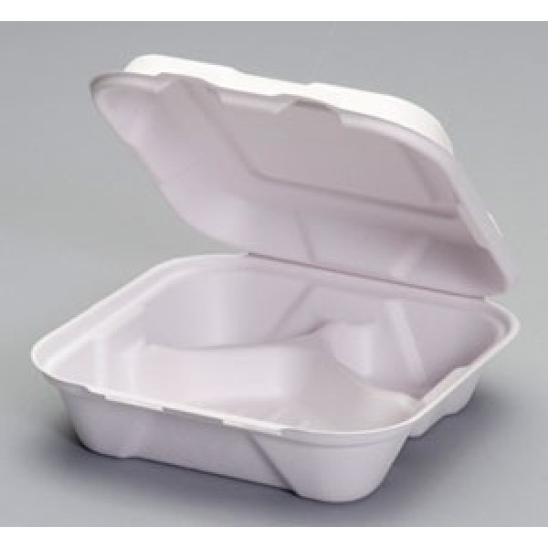 "Harvest Fiber - 8""X8""X3"" - 8"" Hinged Container 3-Comp Bagasse 200/Case"