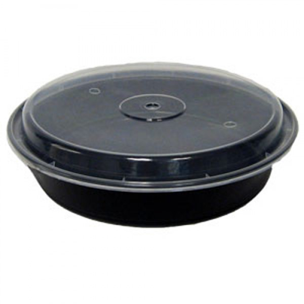 "Maple Leaf - 48 oz Black - 9"" Microwaveable Round Container Black 150/Case"