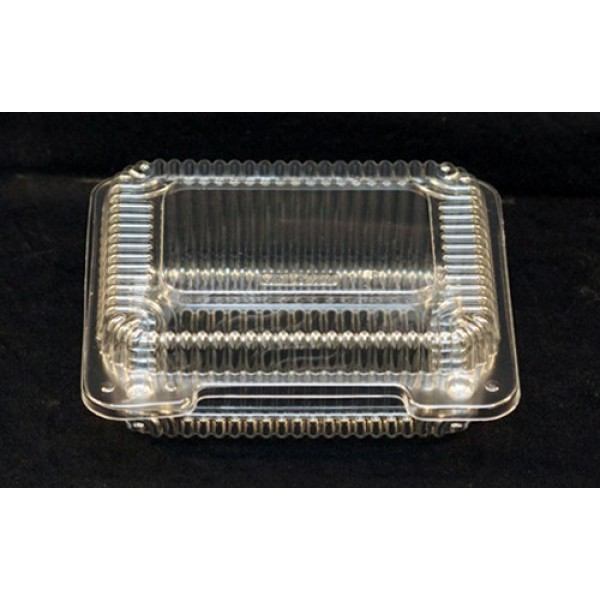 "Vespa - VEL-070 - Small Clear Hinged Container - PET - 6.9"" x 5.9"" x 2.312"" - 600/Case"
