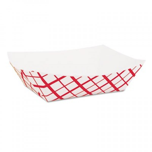 Sct - 417 - 2 Lb Red Checkered Food  Trays #200 1000/Case