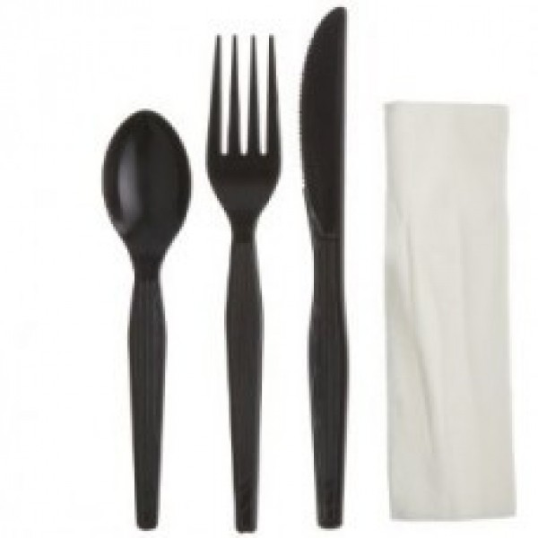 Touch - 91-977 - Black 4 Pc Cultery Kit Full Size (Knife+Fork+Teaspoon+Napkin) 500/Case