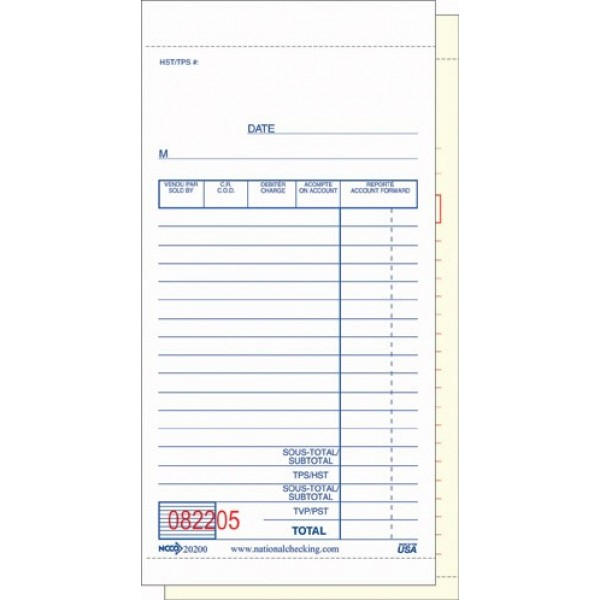 "N.C - 20200 - Guest Checks 3.5""X6.75"" 2Ply 10X50/Pack"