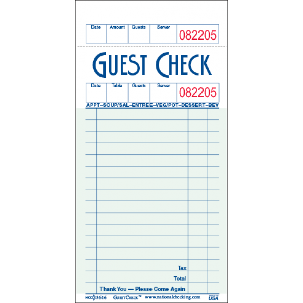 "N.C - 23617 - Guest Checks 3.5""X6.75"" 1Ply 10X100/Pack"