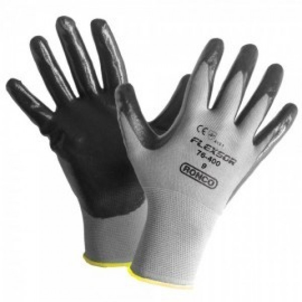 Ronco - 76-400-09 - Large Flexsor™ 76-400 Nitrile Palm Coated Nylon Gloves 12 PAIR/Pack