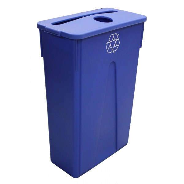 Dynapak - 23 Gallon Blue - Dyna Slim Trash Bin With Paper And Bottle Slot 1 SET/Pack