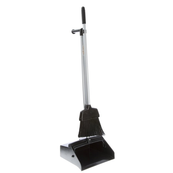 Tisa - TS2051 - Plasitc Lobby Dustpan + Broom - Black 1/Each