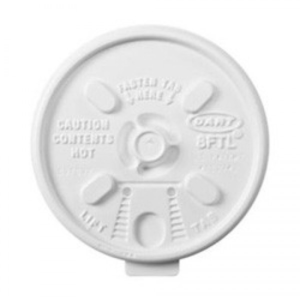 Dart - 12FTL - Tear Back Lid For 10 Oz Squat Or 12 Oz Foam Cup 1000/Case