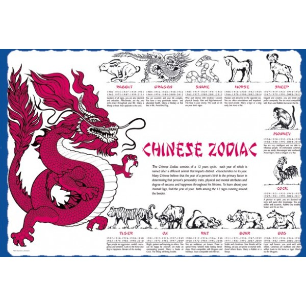 Sanfacon - 12038 - Chinese Zodiac Placemats 1000/Pack