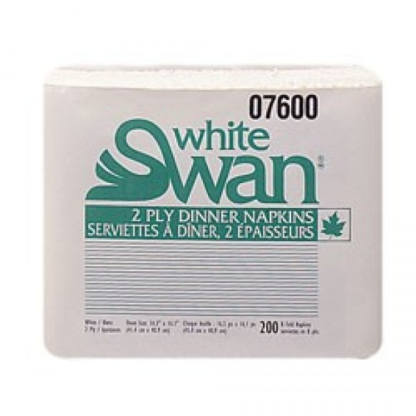 White Swan - #07600 - Dinner Napkin 2 Ply - White -  Premium 2400/Case