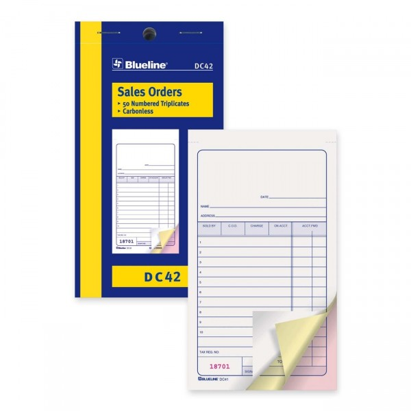 "Blueline® Sales Order Form, DC42, Triplicates, Carbonless, Staple Bound, 3-1/2"" x 6-1/2"", English"