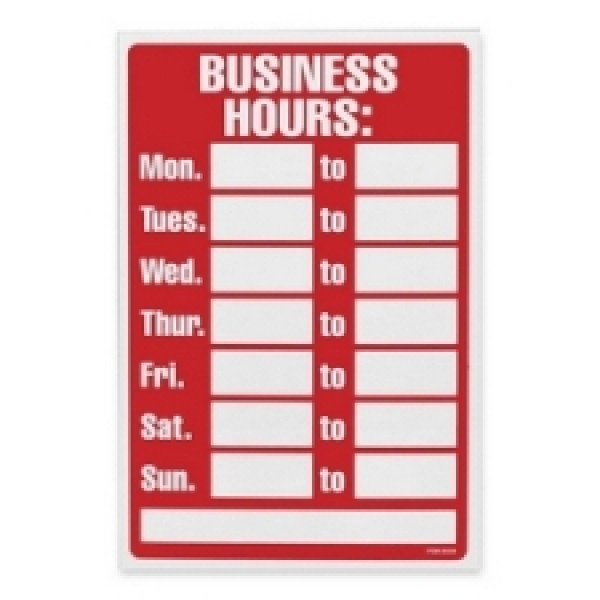 09309 - Write On Business Hours Sign - Each