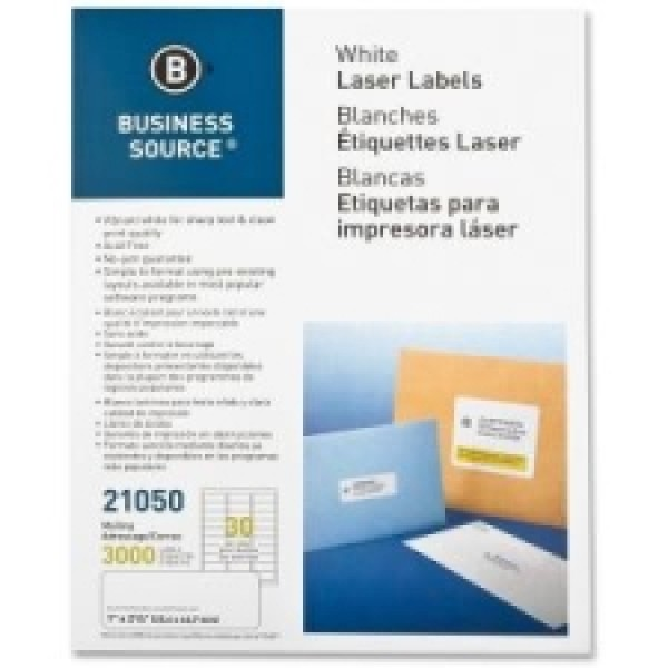 "Business Source - 21050 - 1"" x 2 5/8"" White Laser Mailing Labels - 3000 Labels/Pack"
