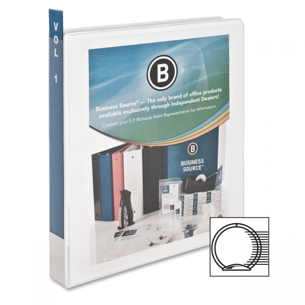 "Business Source - 09953 - 1"" Binder Capacity - Letter - 8 1/2"" Width x 11"" Length Sheet Size - 225 Sheet Capacity - Round Ring Fastener - 2 Pockets - Polypropylene - White - 1 Each"