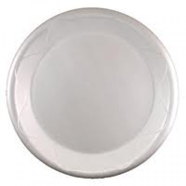 "Darnel - DU5010101 White - 10 1/4"" Foam Plates - 1 Compartment 500/Case"