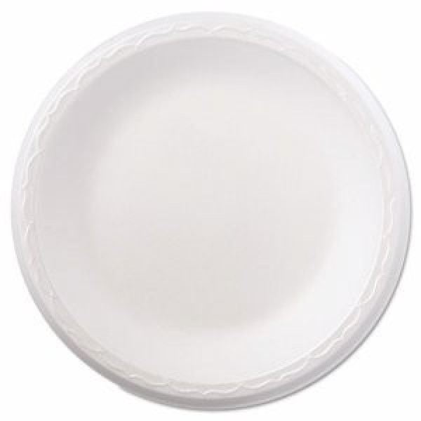 "Genpak - 81000 White - 10 1/4"" Foam Plates - 1 Compartment 500/Case"
