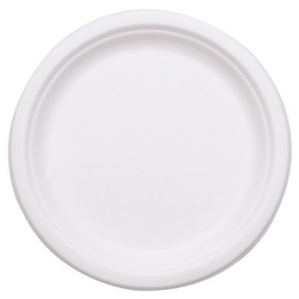 "Bio-Sposables - PL-09-1  - 9"" Bagasse Plates 1-Compartment 500/Case"