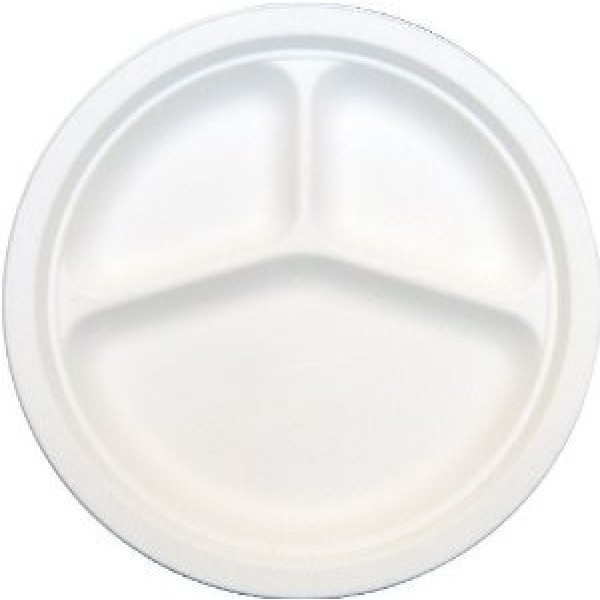 "Bio-Sposables - PL-9-3  - 9"" Bagasse Plates 3-Compartment 500/Case"