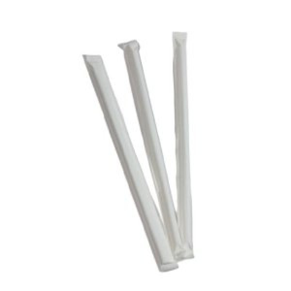 "Bio-Sposables - PLA-ST W - 8"" Pla Milkshake Straws Wrapped 5000/Case"