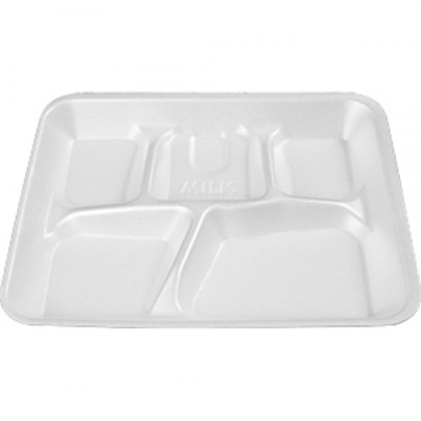 Darnel - DU2014501 - 5 Compartment Lunch Tray White (10.4''X8.4''X1.1'') 500/Case