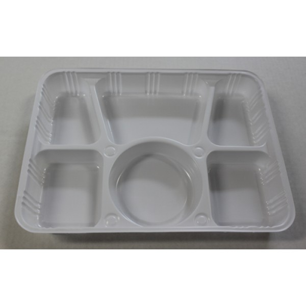 Ppp - 6 Compartment - Plastic Tray White 400/Case