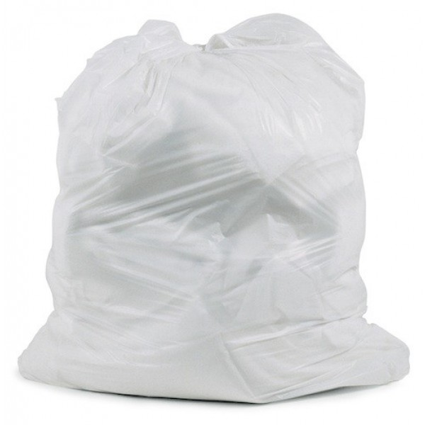 "Amber - 24"" x 22"" Regular - White Garbage Bag - Individually Folded - Dispenser Box 500/Case"