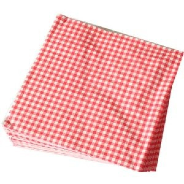 "Amber - 12""X12"" - Red Checker Wax Paper 1000/Pack"
