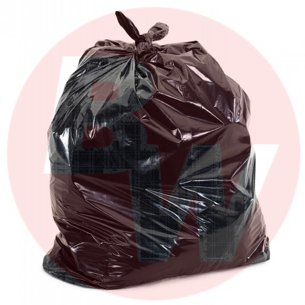 "Amber - 42"" x 48"" Ex-Strong - Black Garbage Bag - Individually Folded - Dispenser Box 100/Case"
