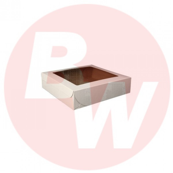 "Eb Box - 8""X8""X1.5"" - Pie Box With Window - White 250/Pack"