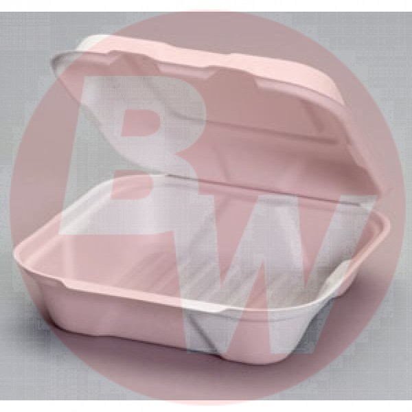 "Harvest Fiber - 9""X9""X3"" - 9"" Hinged Container 1-Comp Bagasse 200/Case"