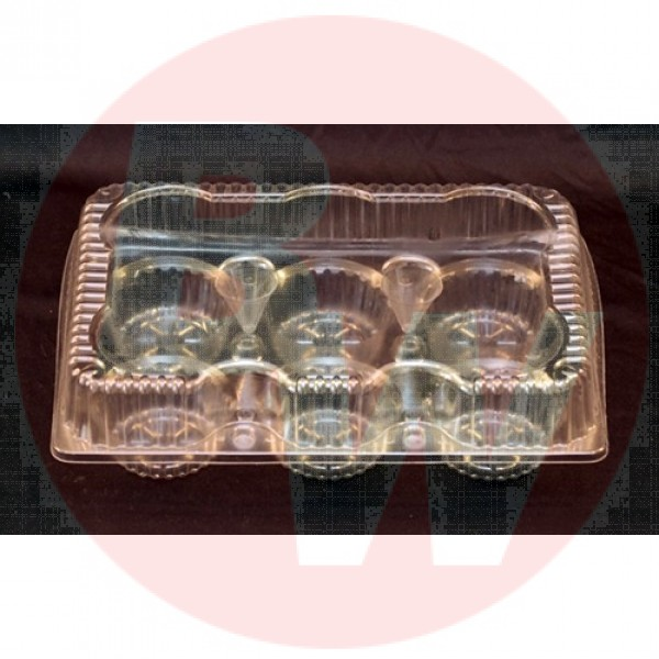 "Vespa - VEL-054 - 6 Large Clear Hinged Muffin Container - PET - 10.625"" x 7.2"" x 2.875"" - 350/Case"