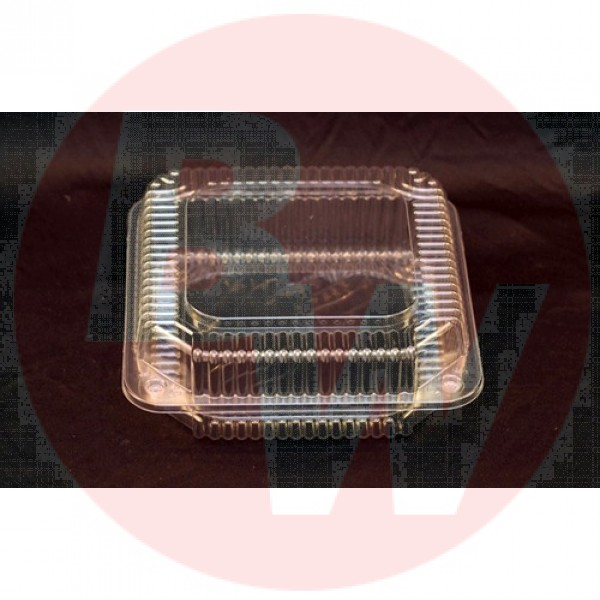 """Vespa - VEL-050 - Small Utility Clear Hinged Container - OPS - 8.25"""" x 8.175"""" x 2.875"""" - 250/Case"""