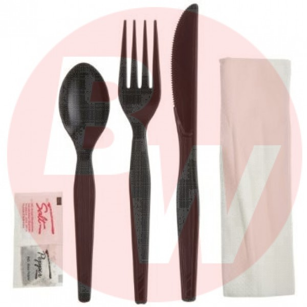 Touch - 91-980 - Black 6 Pc Cultery Kit (Knife+Fork+Teaspoon+Napkin+Salt+Pepper) 500/Case
