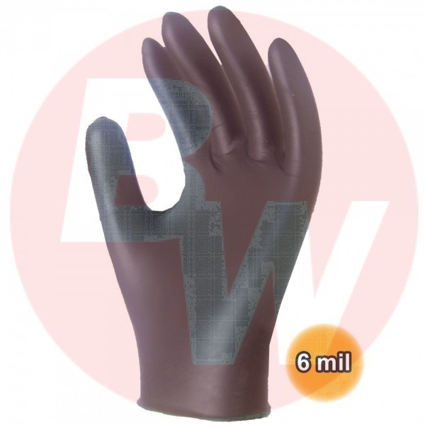 Ronco - 962L - Large Black Sentron Nitrile Examination Gloves (6 Mil) Powder Free 100/Pack