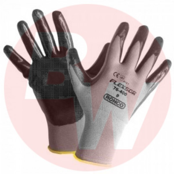 Ronco - 76-400-10 - Extra Large Flexsor™ 76-400 Nitrile Palm Coated Nylon Gloves 12 PAIR/Pack
