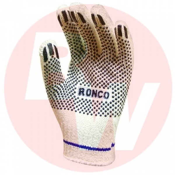 Ronco - 65-020-08 - Medium Work Gloves Stringknit With 1 Side Pvc Dots 12 PAIR/Pack