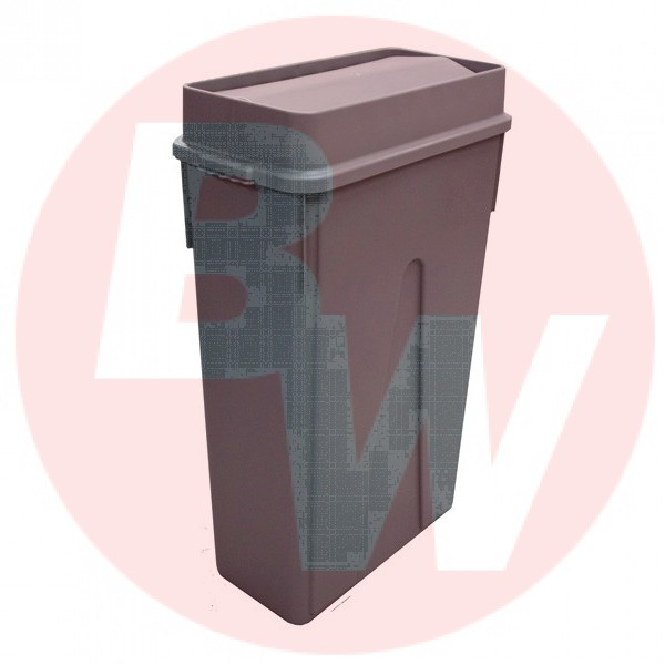 Dynapak - 23 Gallon Grey - Dyna Slim Trash Bin With Swing Lid 1 SET/Pack