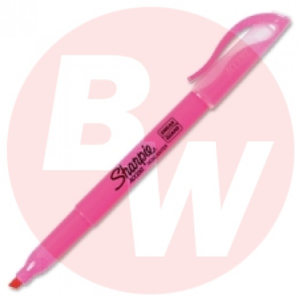Sharpie - 27009 - Flourescent Pink Narrow Chisel Highlighter - 12 / Pack
