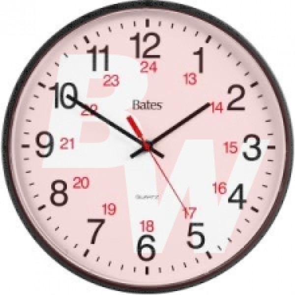 Bates - 47027 - 12-Inch Commercial 12/24 Hour Clock, Battery Powered, Black - Each