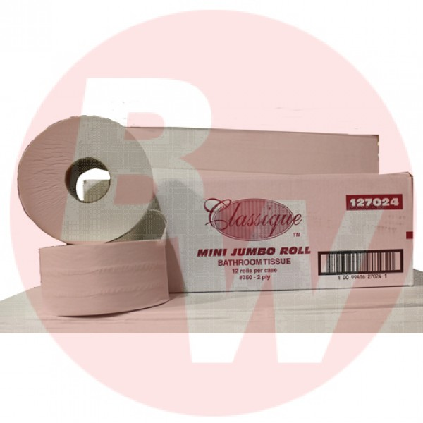 "Classique -  2.4"" Core Mini Jrt Jumbo Roll Tissue 2Ply 12/Case"
